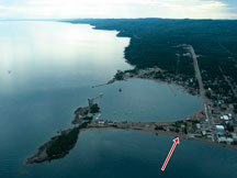 Aerial View of Artists Point Vacation Rentals and Grand Marais, Minnesota